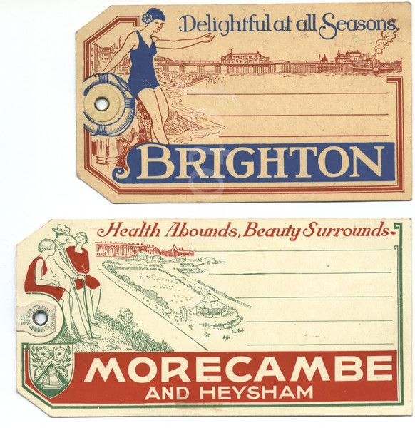 Seaside resorts luggage labels from the 1930's: Brighton & Morecambe