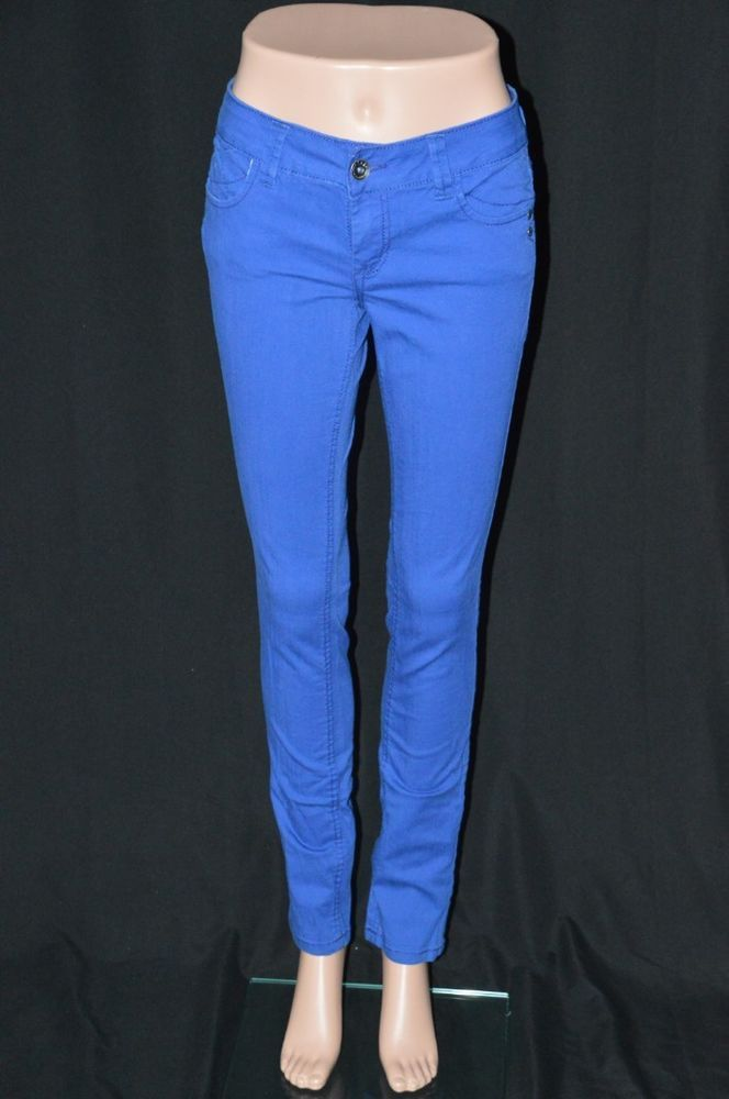 Lei Juniors 5 Regular Royal Blue Colored Skinny Jeans Solid Color Bright #lei #SlimSkinny