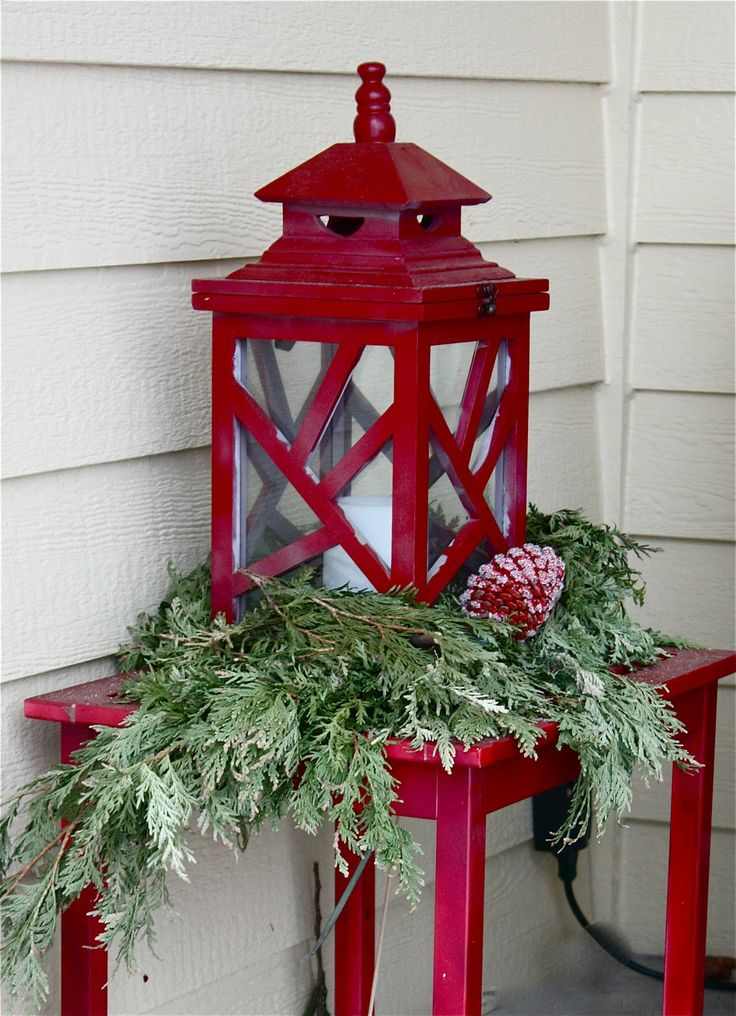 Lanterns cape cod and porches on pinterest for Outdoor christmas lantern decorations