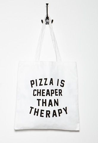 Pizza Therapy Graphic Tote | Forever 21 - 1000112351