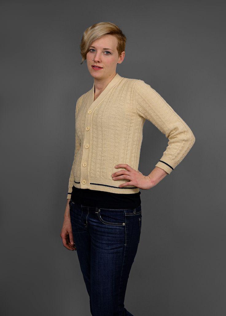 Vintage 1960s Beige Cable Knit Cardigan Letterman Sweater w/ Navy Trim