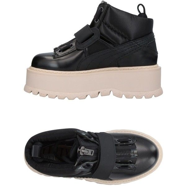 Puma High-tops & Sneakers (4.605.395 IDR) ❤ liked on Polyvore featuring shoes, sneakers, black, black wedge shoes, high top zipper sneakers, leather high top sneakers, black leather high tops and black high-top sneakers