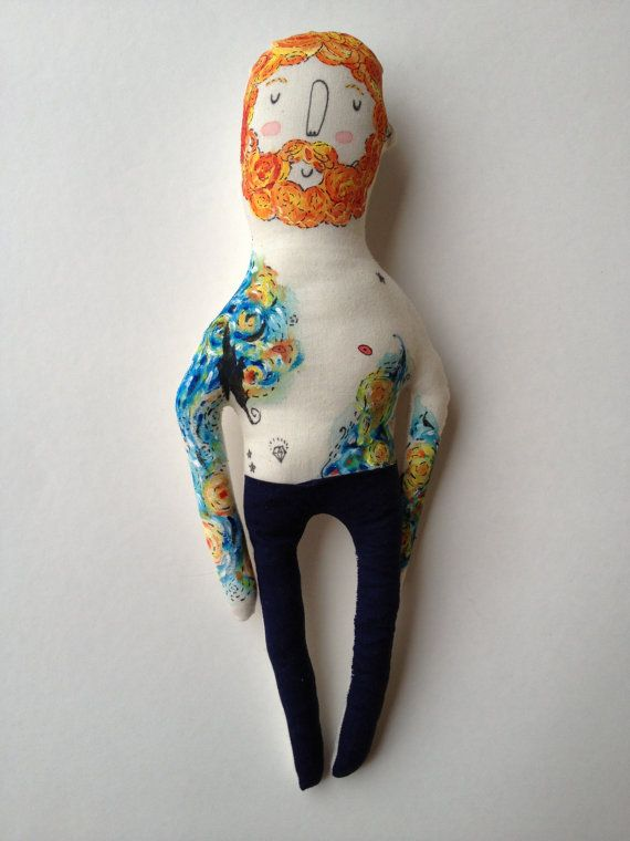 As seen in the Autumn 2013 edition of Stuffed Magazine!  This doll was handmade with care- each one is hand painted, never printed. He