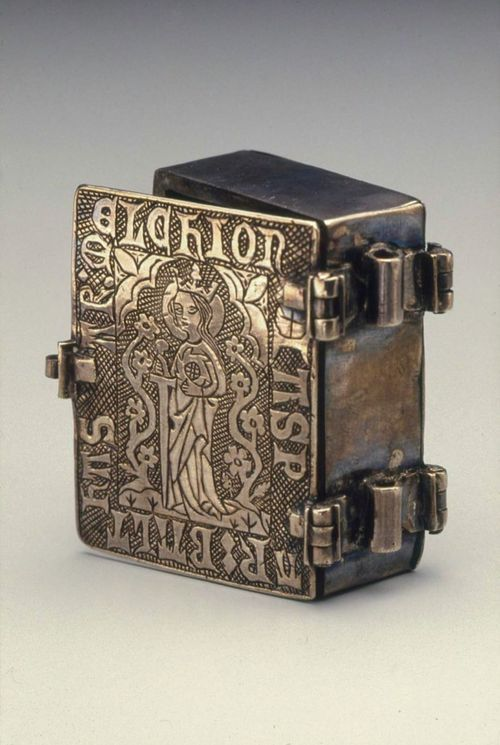 Silver box in the shape of a book, made in Northern Europe in the mid 14th century