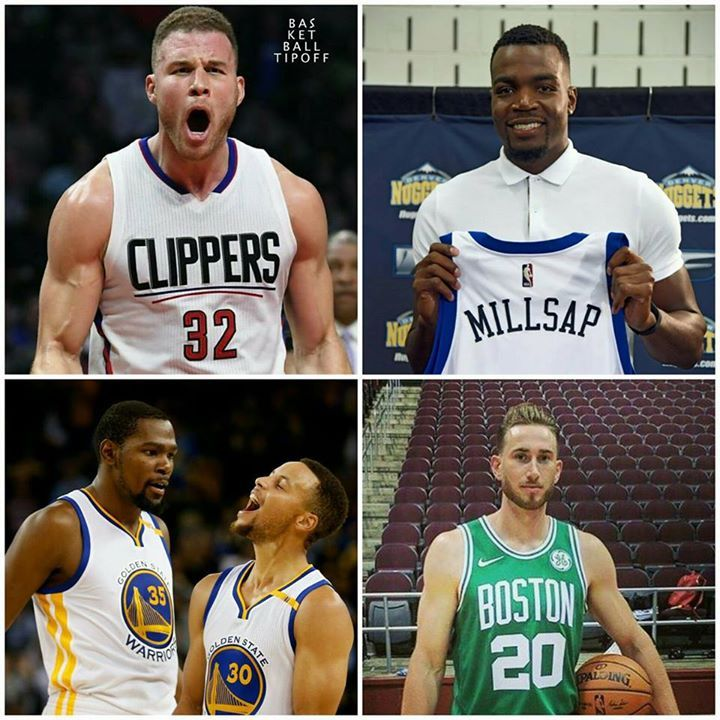 Top 5 Free Agency Signings 2017 NBA Off-season  1. Kevin Durant: Golden State Warriors (two-year $53M)  2. Gordon Hayward: Boston Celtics (four-year $128M)   3. Paul Millsap: Denver Nuggets (three-year $90M)   4. Blake Griffin: L.A. Clippers (five-year $173M)  5. Stephen Curry: Golden State Warriors (five-year $201M)   - AC3