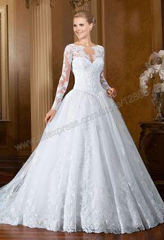 Manga longa vestidos de casamento vestidos de noiva princesa bola de vestidos de casamento muçulmano com mangas