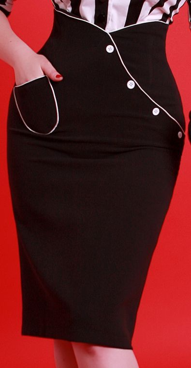 Retro Bettie Page Clothing Black Pencil Skirt w/Pocket and Buttons