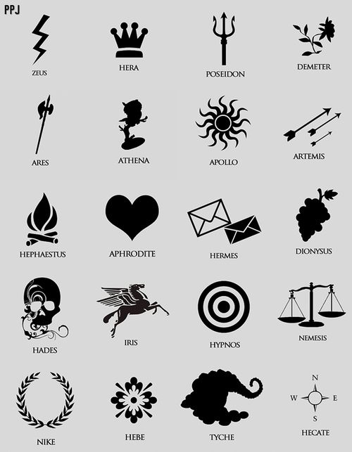 percy jackson drawing of cabin symbols - Google Search