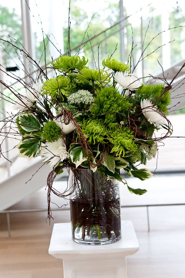 Modern green branch floral arrangement for Floral arrangements with branches