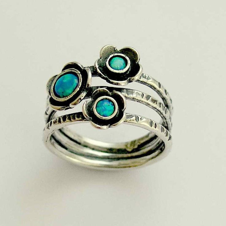 Blue opals ring, Mothers Ring, sterling silver ring, oxidized silver ring, multi stones ring, birthstones ring, blue stones - Guess R1686-1 by silvercrush on Etsy https://www.etsy.com/listing/57106957/blue-opals-ring-mothers-ring-sterling
