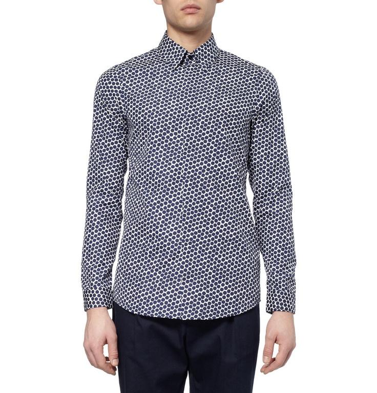 Jil Sander Slim-Fit Heptagon-Print Cotton Shirt | MR PORTER