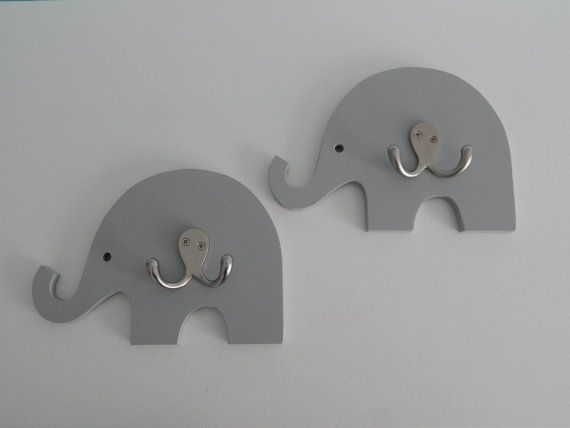 Cute little elephant hooks for an adorable nursery add-on! Hand painted and each has a double hook. Many colors and sizes are welcome.