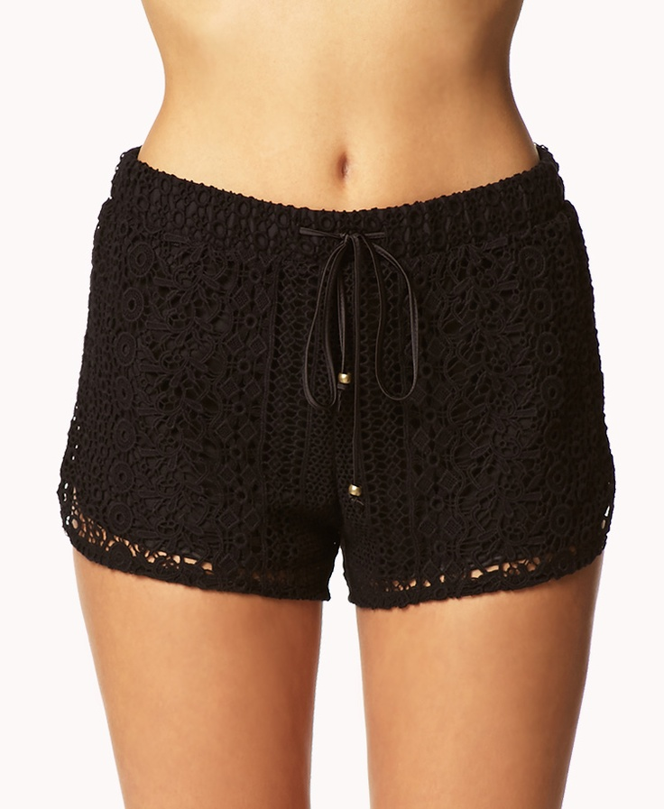 Crocheted Dolphin Shorts | FOREVER21 What would you pair with these shorts? #Summer #Black #Cute #MustHave