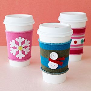 DIY Gift Ideas/Party Activity for kids to create together: Coffee cozies created from inexpensive knit socks & buttons. #holidayentertaining