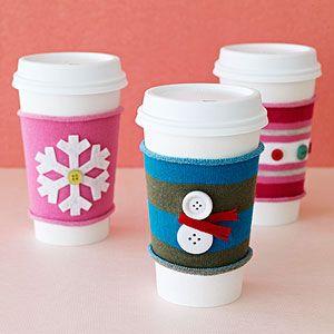 Coffee cozies.: Coffee Sleeve, Christmas Crafts, Crafts Ideas, Cups, Gifts Ideas, Gift Ideas, Socks, Holidays, Christmas Gifts