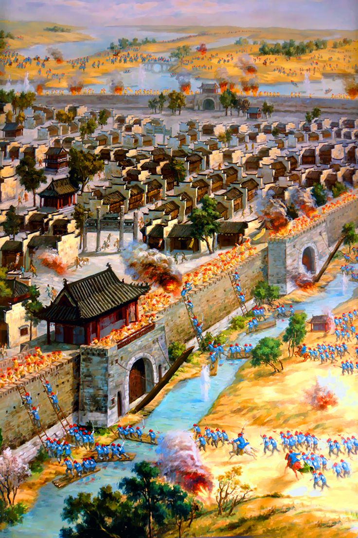 Imperial Qing army besieging the Taiping rebel's fortified town of Sanhe