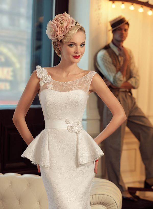 Jazz sounds on Behance. Peplum style Wedding Gown with Blush Pink Floral Headpiece