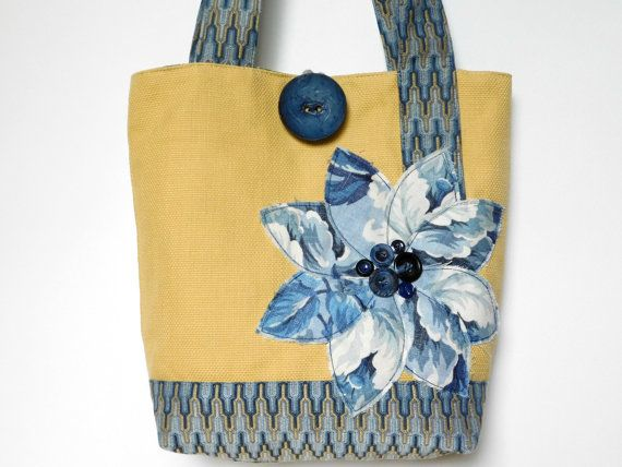 Vacation Tote Bag Yellow Handbag Navy Tote by BerkshireCollections
