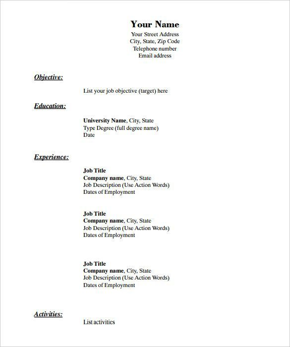 Free Resume Templates Blank Free Printable Resume Basic Resume