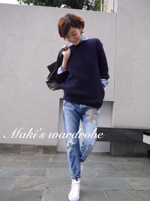 Cute casual look featuring relaxed jeans.  Nice! -Lily