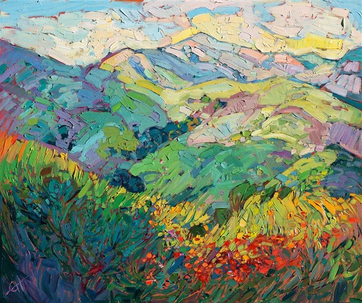 24 Karat gold leaf oil painting in a modern impressionist style, by Erin Hanson