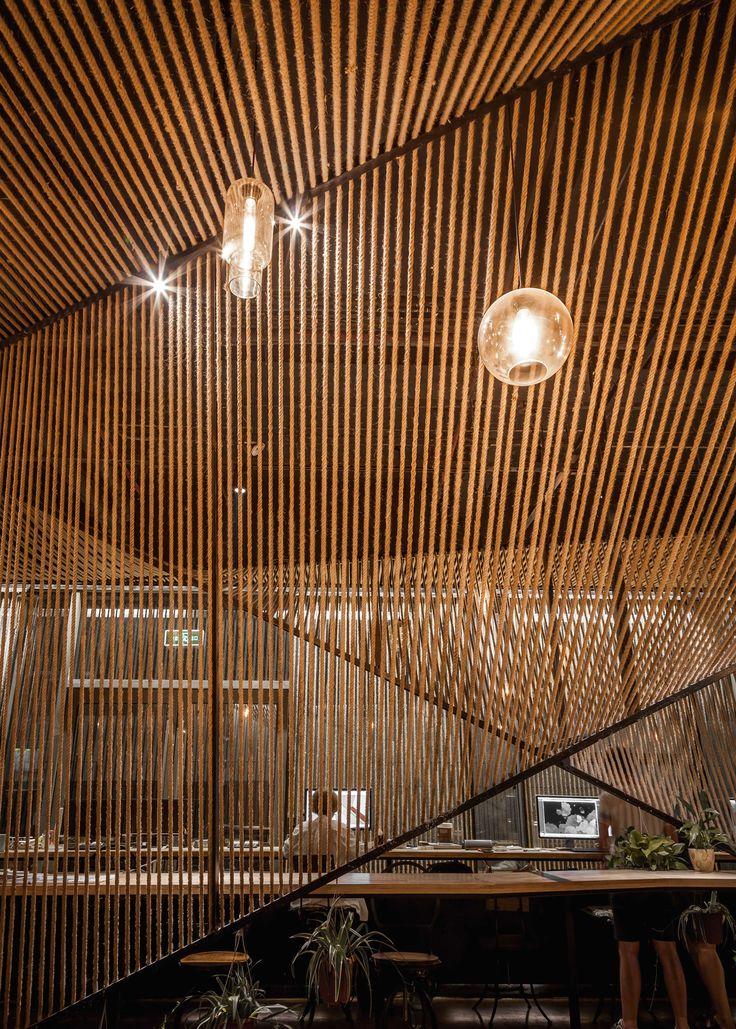 Cute Usual Studio schl gt Wellen Rauminstallation aus Seilen