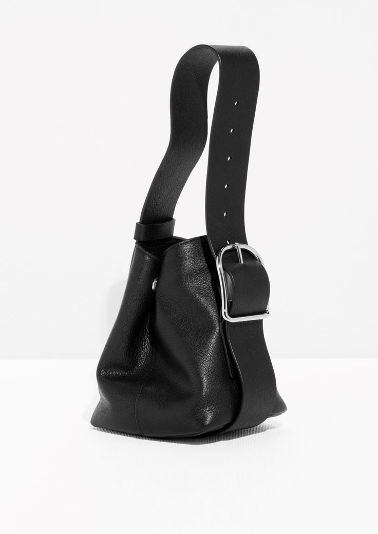 & Other Stories - Leather Mini Bucket in Black