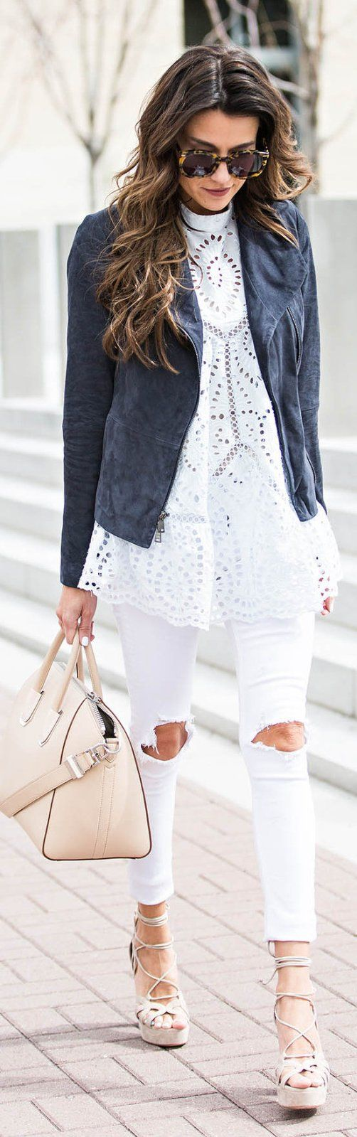 #winter #fashion /  Dark Jacket / White Lace Top / White Destroyed Skinny Jeans / Laced Up Platform