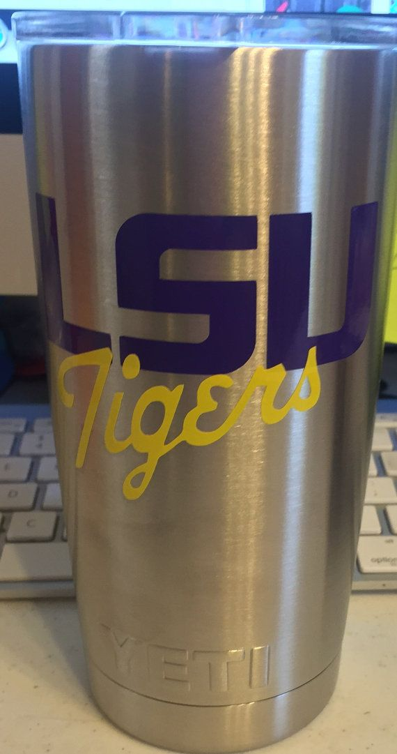 LSU TIGERS nspired DECAL for Yeti Tumbler with or without Personalization