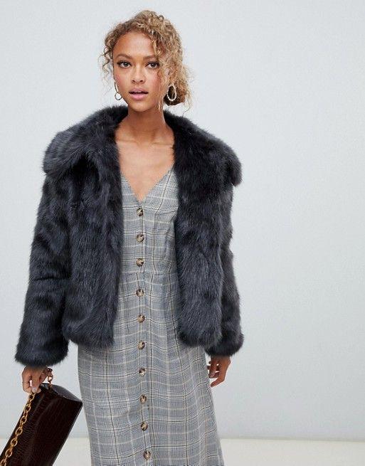 ca5abd0668c New Look faux fur short coat in gray