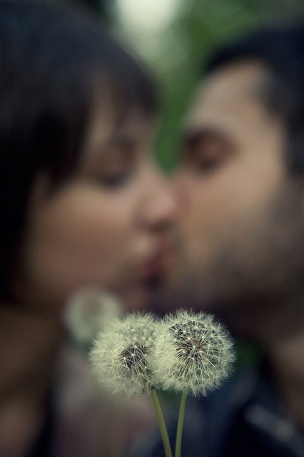 engagement photo-blurred with flower