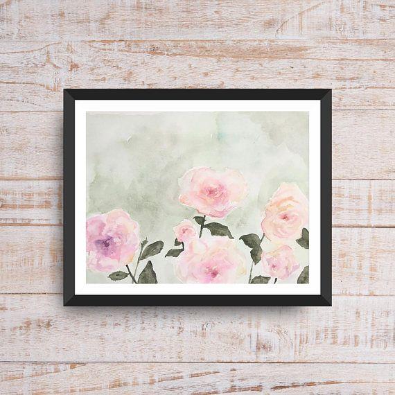 Pink Flowers Watercolor Art Print Instant Digital Download