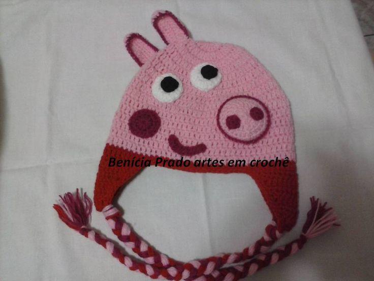 touca pepa pig em croche