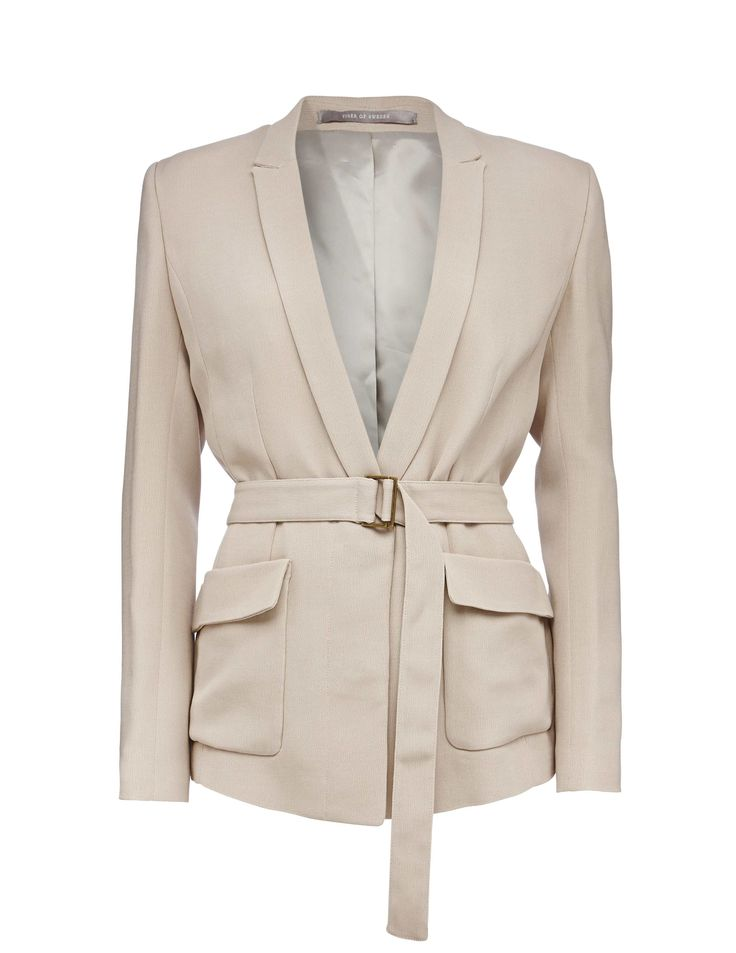 Madina blazer - Women's blazer in double crepe. Features concealed button closure at front. Fabric belt with metal buckle. Fully lined. Relaxed fit. Below-hip length.