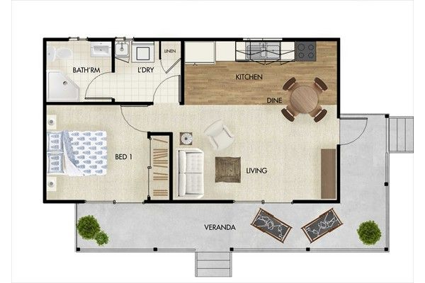 Granny flat designs 45sqm one bedroom granny flat for Floor plans granny flats
