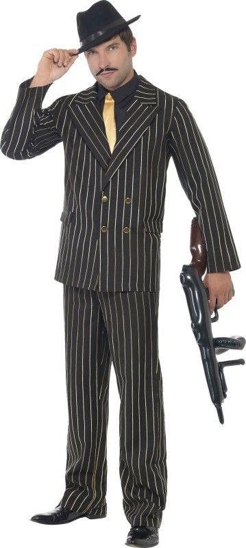 Déguisement gangster charleston homme : Ce déguisement de gangster charleston pour homme se compose d'un haut, d'une veste et d'un pantalon (chapeau, mitraillette et chaussures non inclus). Le haut de couleur noir...