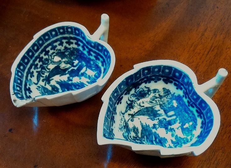 Pair of #18th #Century #Caughley #Blue and #White #Fisherman Pattern #Butter #Boats
