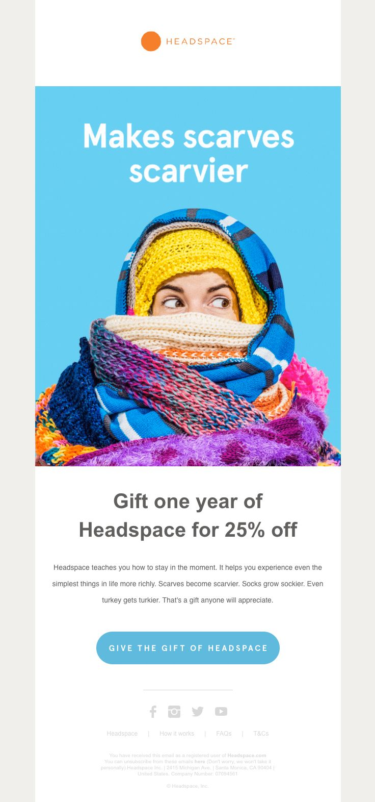 Headspace sent this email with the subject line: Gift Headspace: 25% off a years' subscription - Read about this email and find more holiday emails at ReallyGoodEmails.com #app #discount #holiday
