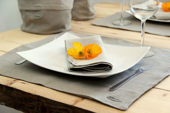 Linen placemat set of 1 by lininline on Etsy