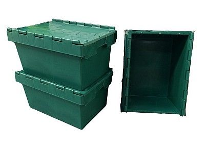 54 Litre Stack - Nest Attached Lid Container - Lidded Plastic Storage Box