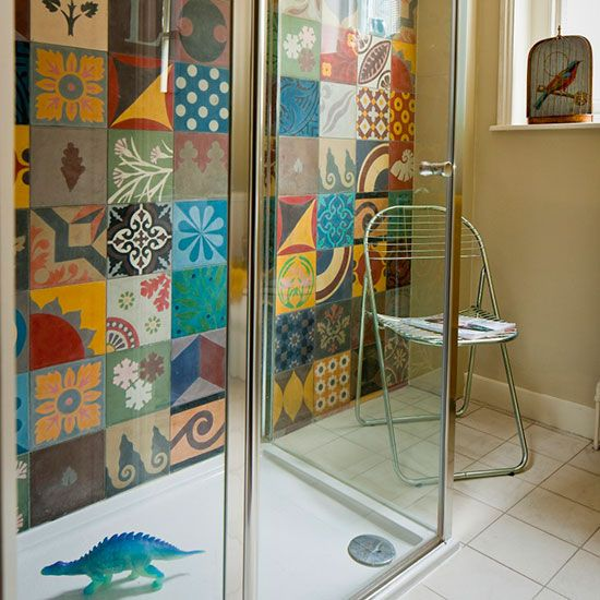 Shower room with colourful ceramic tiles and walk-in shower