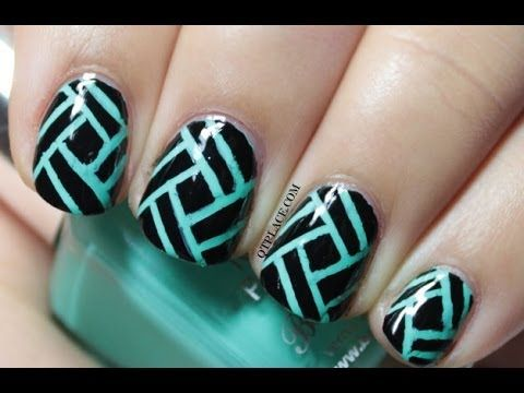 Striping tape nail art - YouTube