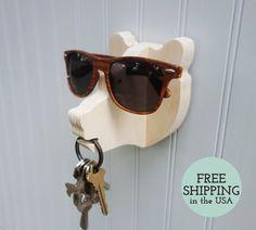 Schlüssel Haken aus Holz Bear Head Wandaufhänger von thejunglehook