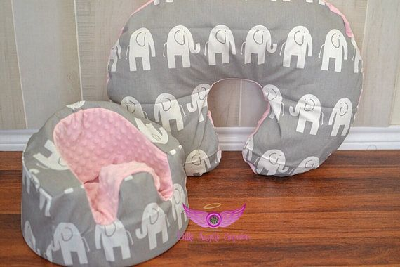Gray and White Elephant Fabric and Light Pink Minky Bumbo Seat Cover and Boppy Pillow Cover Set on Etsy, $47.00