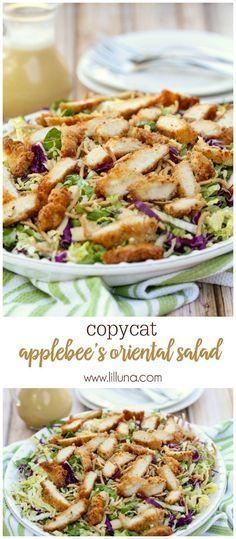 Copycat version of Applebee's Oriental Chicken Salad - one of the best salad recipes! { http://lilluna.com }