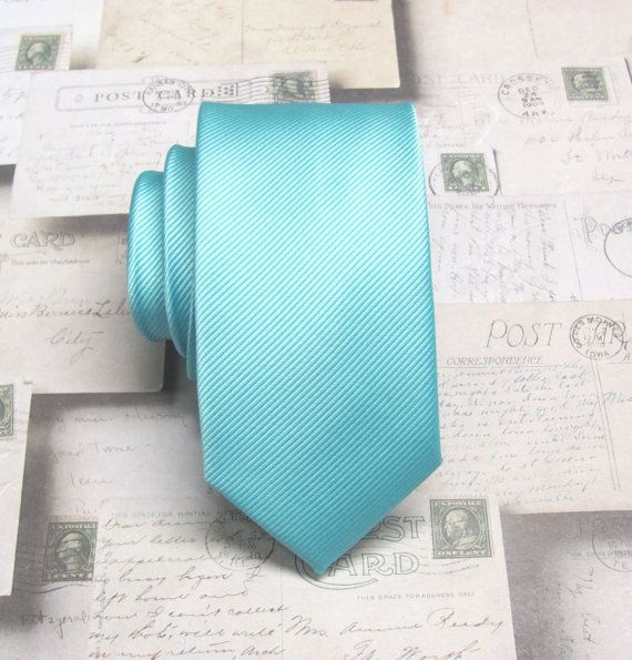 Mens Tie. Pool Blue Robin Blue Eggs Blue Tonal by TieObsessed