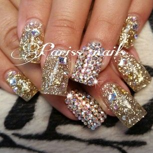 Gold Glitter Rhinestone Nails Would Be Pretty For Christmas Nails Bling Nails Nail Art