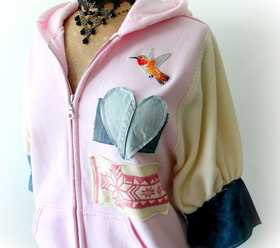 Pink Upcycled Hoodie Hooded Zipper Jacket by BrokenGhostClothing