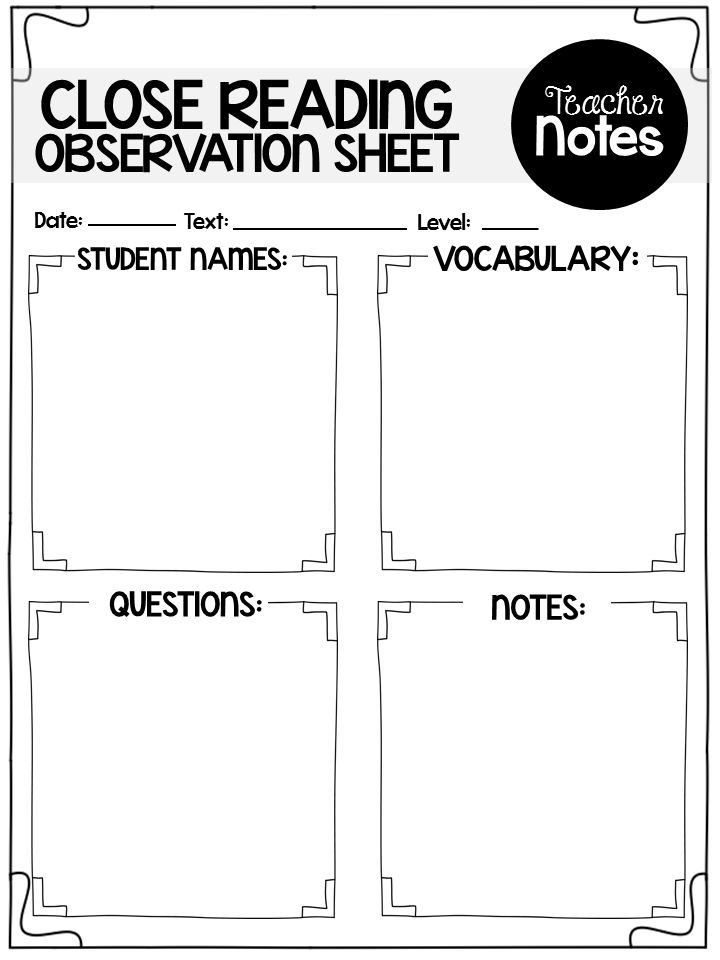 writing vocabulary observation sheet