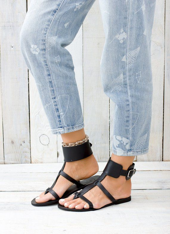 KASOS black leather women sandals from